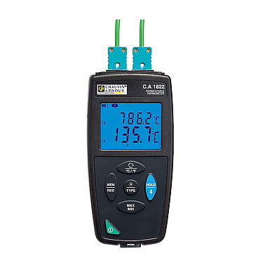 Chauvin Arnoux C.A 1822  (P01654822)  2-channel thermocouple thermometer (J, K, T, N, E, R, S ,2 channel )