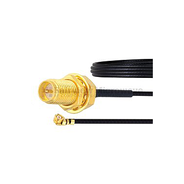 Fairview  FMCA1018 RP SMA Female Bulkhead to UMCX 2.5 Plug Cable 1.37mm Coax and RoHS Compliant