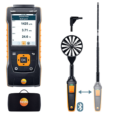 Testo 440 (0563 4409)  delta P Air Flow ComboKit 1 with Bluetooth (0~50 m/s )