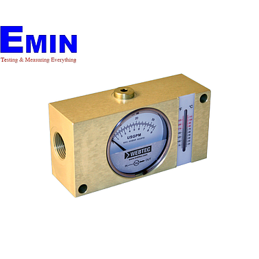 Webtec FI1500-400BSWT Hydraulic Brass In-line Flow Indicator (Water:100 US gpm;Oil:100 US gpm;5000 psi;with temp.)